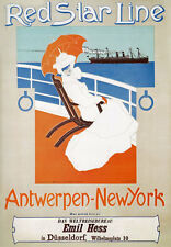 TX195 Vintage Red Star Antwerp New York Shipping Travel Poster RePrint A2/A3