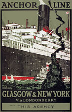 TX196 Vintage Anchor Line Glasgow Cruise Shipping Travel Poster Re-Print A4