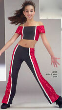 Shiny Lycra Sequin Black Red Jazz Make It Move Pant Child M