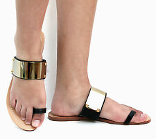 New Women ECt1 Black Gold Metal Plate Toe Ring Flat Sandals sz 6 to 10