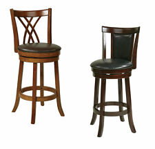 Metro 30H Swivel Bar Stool Wood & Faux Leather Counter Pub Bistro Table Chair