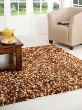 Large Super Soft Shaggy Quality Rug in Brown Gold Cream in Three Sizes Carpet