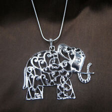 "Hot! New Fashion Pretty Silver Big Elephant Pendant Snake Chain Necklace 16""-28"""