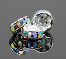 Clear AB Rhinestone Diamante Silver Plated Rondelle Spacers Beads 4 6 8 10 mm