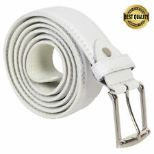 "BELT MENS JEANS WHITE LEATHER ALL SIZES 30"" - 44"" GREAT GIFT IDEA NEW"