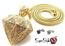 Hip-Hop Crystal Style Iced Out Design Diamond Jewel Shaped Pendant Franco Chain