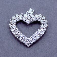 5x Rhinestone Crystal Diamante Silver Plated Heart Pendants Charms Beads