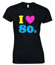 I LOVE THE 80s Ladies T-Shirt 8-18 Black Outfit Fancy Dress Costume Neon (B1)