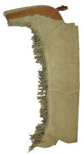 WESTERN HORSE SHOW SADDLE CHAPS TAN SUEDE WITH FRINGE SILVER CONCHO S M L XL XXL