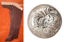 WESTERN HORSE SHOW SADDLE CHAPS BROWN SUEDE WITH FRINGE & CONCHO S M L XL XXL