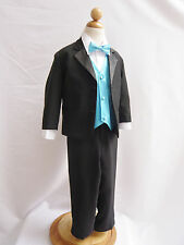 BOY TODDLER TEEN WEDDING PARTY  RING BEARER BLACK TUXEDO SUIT COLOR VEST BOW TIE