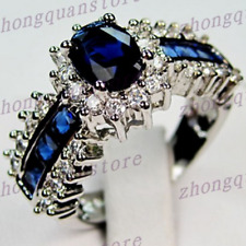 Wedding Jewelry Ring Size 5/6/7/8/9/10/11 Blue Sapphire 10k White Gold Filled