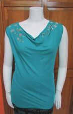 Calvin Klein Women's Size 100% Cotton Turqu Beaded and Sequin Tank 0X, 2X and 3X