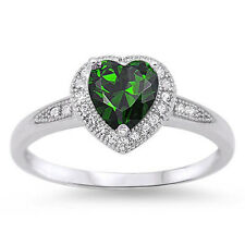 MOTHERS DAY MAY BIRTHDAY GREEN EMERALD HEART .925 Sterling Silver Ring Size 5-9