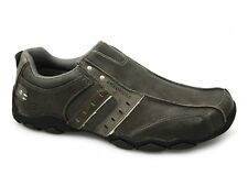 Skechers DIAMETER HEISMAN Mens Leather Slip-On Comfy Casual Shoes Charcoal Grey