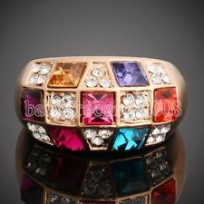 18K Rose Gold GP Multi-Swarovski Crystal Wedding Elegant Ring 290