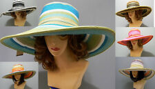 Paper Straw Floppy Bow Rainbow Sun Beach Summer Wide Brim Striped Rainbow Hat