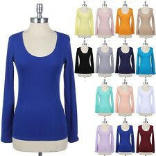 Women's Long Sleeve U Neck Top Solid LAYERING Basic Plain TEE Shirt Casual S M L
