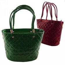 BORSA DONNA SPALLA SHOPPING BAG VERNICE TRAPUNTATA EXPANDED LATERALE ZIP 190