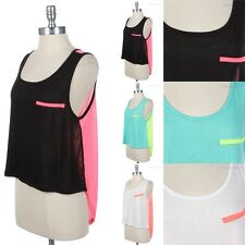 Color Block Chest Strip Back Panel Sleeveless Tank Top High and Low Hem