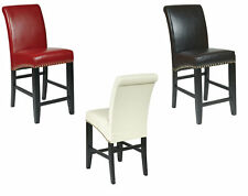 24H Eco Leather Parsons Bistro Pub Bar Stool Armless Breakfast Counter Chairs