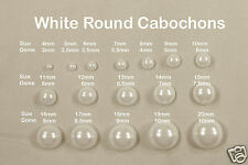 White Round Acrylic/Faux Cabochons Flatback Pearl Style Beads Sizes 4mm-20mm