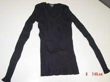 NWT Womens George V Neck Power Ribbed Sweater Black