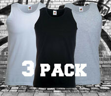 MENS 3 PACK FITTED FRUIT OF THE LOOM VESTS COTTON GYM TANK TOPS SUMMER TRAINING