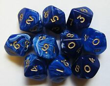 10 x Marble Blue Dice Multi Sided Poly Dice NEW