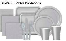SILVER Tablecovers Napkins Party Bags Streamers Plates Cups Decorations