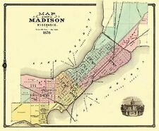 Old City Map - Madison Wisconsin - 1878 - 27.75 x 23