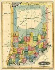 Old State Map - Indiana - Lucas 1823 - 23 x 28.88