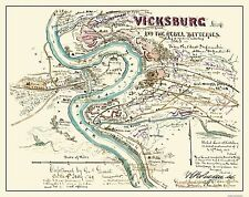 Civil War Map Print - Vicksburg Mississippi Rebel Battle - 1863 - 29.13 x 23
