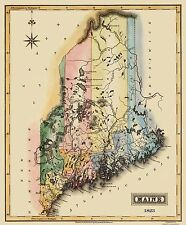 Old State Map - Maine - Lucas 1823 - 23 x 27.81