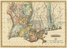 Old State Map - Louisiana - Lucas 1823 - 32 x 23