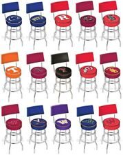 Choose Your NCAA P-Z Team L7C4 Chrome Double-Ring Swivel Bar Stool w/ Seat Back