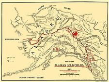 Old Mining Map - Gold Fields Alaska - Lee 1897 - 23 x 30.42