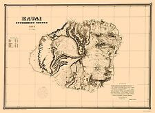 KAUAI ISLAND HAWAII (HI) COUNTY MAP BY C. S. KITTREDGE 1878