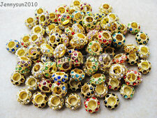 Big Hole Crystal Rhinestones Pave Gold Rondelle Spacer Beads Fit European Charm