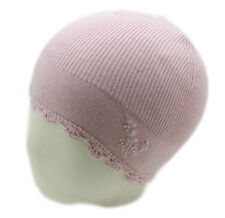 JACADI Girl's Lt. Pink Flower Embroidered Cotton, Nylon, & Angora Bonnet NWT $34