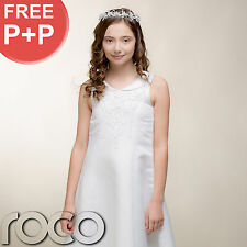 Girls White Traditional First Holy Communion Dress with Embroidered Pearls