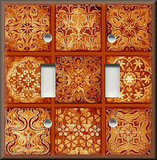 Light Switch Plate Cover - Tuscan Tile Mosaic - Orange - Old World Decor