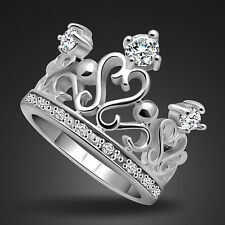 Fashion Genuine Solid Sterling Silver CZ Crown Ring Size 6 7 8 9 10 PR001