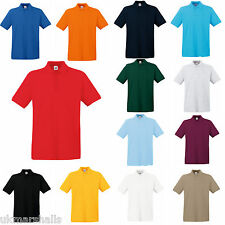 3 x Fruit of the Loom Premium 100% Cotton Polo T Shirt  S - XXXL 13 Colours