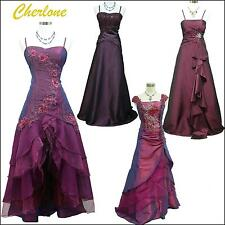 Cherlone Satin Purple Sparkle Lace Bridesmaid Ball Wedding/Evening Gown Dress