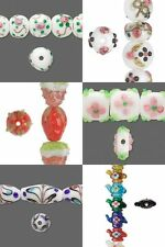 Assorted Lampwork Glass Wedding Cake Teapot Strawberry Pink Green Gold Red Beads