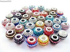 10pcs Mixed Colored Czech Crystal Rhinestones Beads Fit European Bracelet Charm