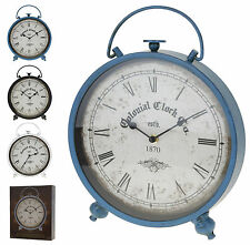 Metal Table Clock Antique Style Shabby Chic Distressed Mantle Clock with feet