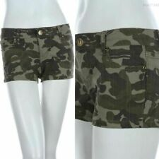 Camouflage Print Mini Shorts Army Military 5 Pockets Zip Fly Button Closure Span