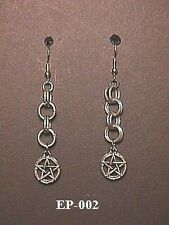 Pentacle Chainmaille Earrings Chain Mail Maille Pagan Wiccca Goth Ecclectic Punk